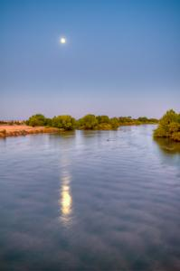 Moon Reflection On Kern River, California
